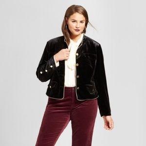 {Who What Wear} Black Velvet Military Blazer 1X